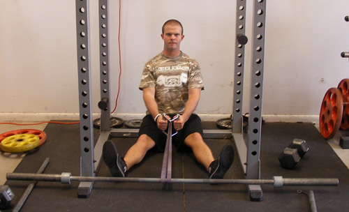 Seated Band Rows With Handle Back Exercise Video Example