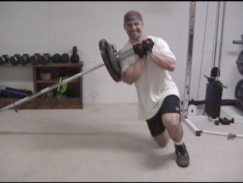 Sideways Barbell End Lunges
